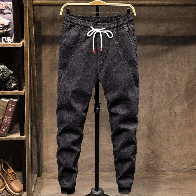 Spring Summer MEN'S Jeans Black And White With Pattern Bib Overall Popular Brand Loose Elasticity Capri Casual Harem Beam Leg Sk