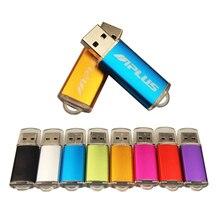 (Sobre o logotipo livre de 10 pces) movimentação colorida de alta velocidade do flash de usb 2.0 metal pendrive 32gb 16gb 1gb 64gb fotografia presentes disco de memória