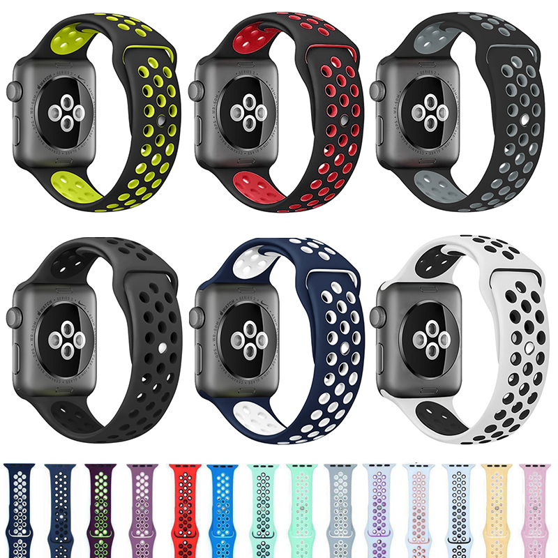 Soft Silicone Sport Band For Apple Watch 38mm 40mm Series 1 2 3 4 5 42mm 44mm Wrist Bracelet Watch Strap For IWatch Accessories