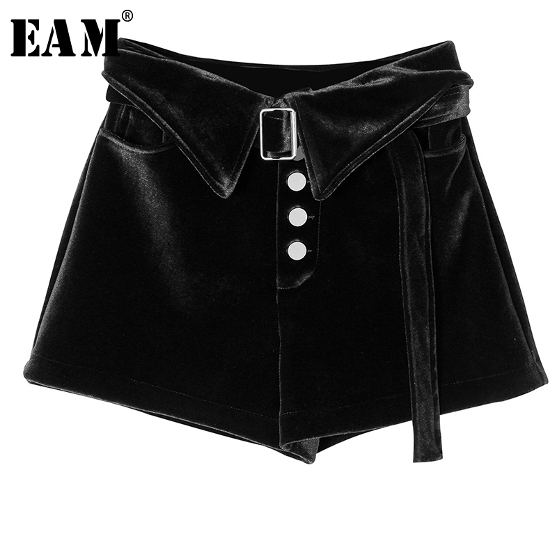 [EAM] Women Velvet Belt Personality Wide Leg Shorts New High Waist Loose Fit Trousers Fashion Tide Spring Autumn 2020 1A922