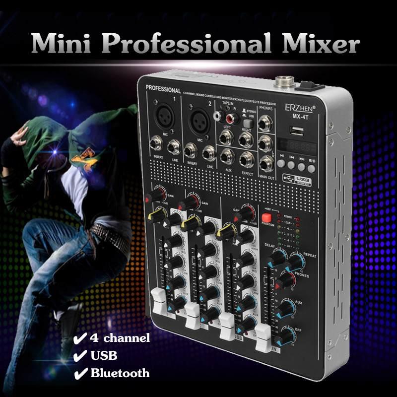 Multi-zweck Audio Mixer 4 Kanäle Professional Live Studio Audio Mixer USB bluetooth Mischen Konsole KTV Karaoke