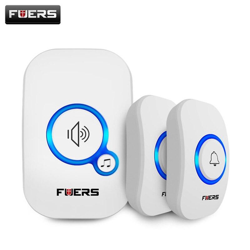 FUERS M557 Wireless Doorbell Outer Wireless Door Bell Home Wireless Welcome Chime Alarm With Battery 32 Songs Smart Doorbell