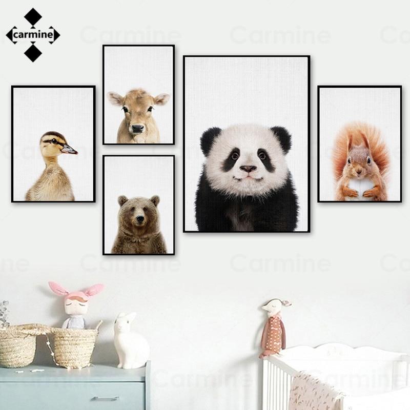 Плакатов и с милым принтом домашние украшения с животными с мультипликационным принтом «панда», сосна до середины икры утка настенная живо...