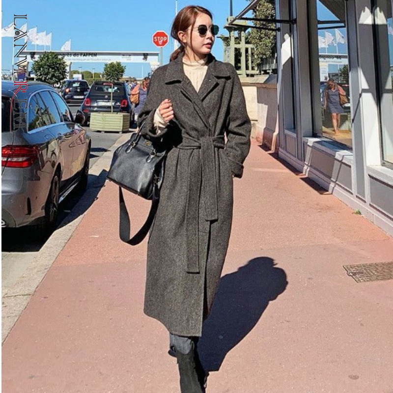 LANMREM 2020 New Spring Solid Color Lapel Single Breasted Mid-length Woolen Coat Women Korea Loose Casual Thicken Coat PD730
