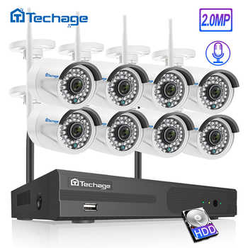 Techage H.265 8CH 1080P HD Wireless NVR Security CCTV System 2MP Outdoor Waterproof Audio WiFi IP Camera Video Surveillance Kit - DISCOUNT ITEM  35% OFF All Category