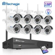 Techage H.265 8CH 1080P 무선 NVR 키트 보안 CCTV 시스템 2MP 야외 방수 오디오 와이파이 IP 카메라 비디오 감시 세트