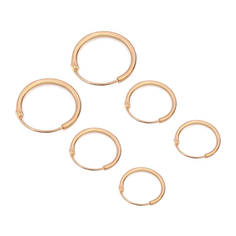 3 זוגות\סט אופנה נשים ילדה פשוט עגול מעגל קטן אוזן Stud עגיל פאנק היפ הופ עגילי תכשיטי 3 גודל