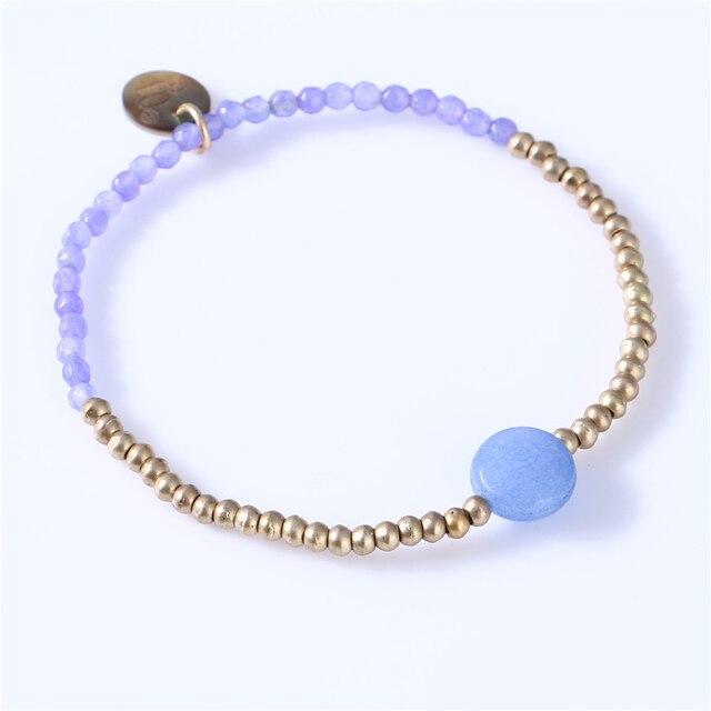 Pierre naturelle perle Bracelet breloque femme or cuivre multicolore perlé grande taille Bracelet élastique Bracelet quotidien mode bijoux
