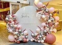 111 шт Ретро пыльно-розовый Макарон Gream персиковый воздушные шары-гирлянды хром серебристый воздушный шар для детского душа День рождения Св...