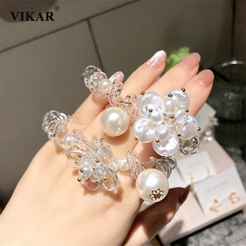 VIKAR Women Luxury Pearl Crystal Elastic Hair Bands Shiny Ponytail Holder Scrunchie Rubber Bands Hair Ropes Hair Accessories iteso 2020 new crystal women hair ties girls elastic hair bands ponytail holder scrunchie rubber bands lady hair accessories