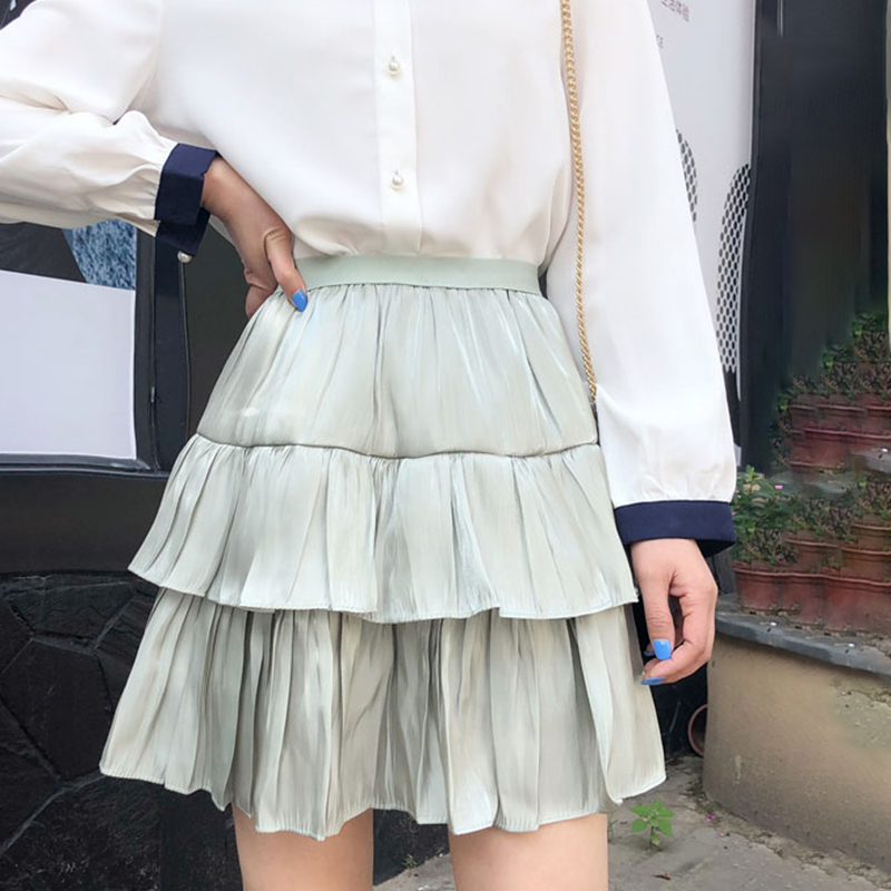 Satin Skirts Women Shorts Mini Skirts A-Line Elastic High Waist Pleated Skirts Double Layer Korean Elegant Summer Skirt New W001