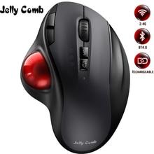 ג לי מסרק Bluetooth Trackball עכבר נטענת 2.4G USB אלחוטי & Bluetooth ארגונומי למחשב נייד Tablet PC Mac אנדרואיד
