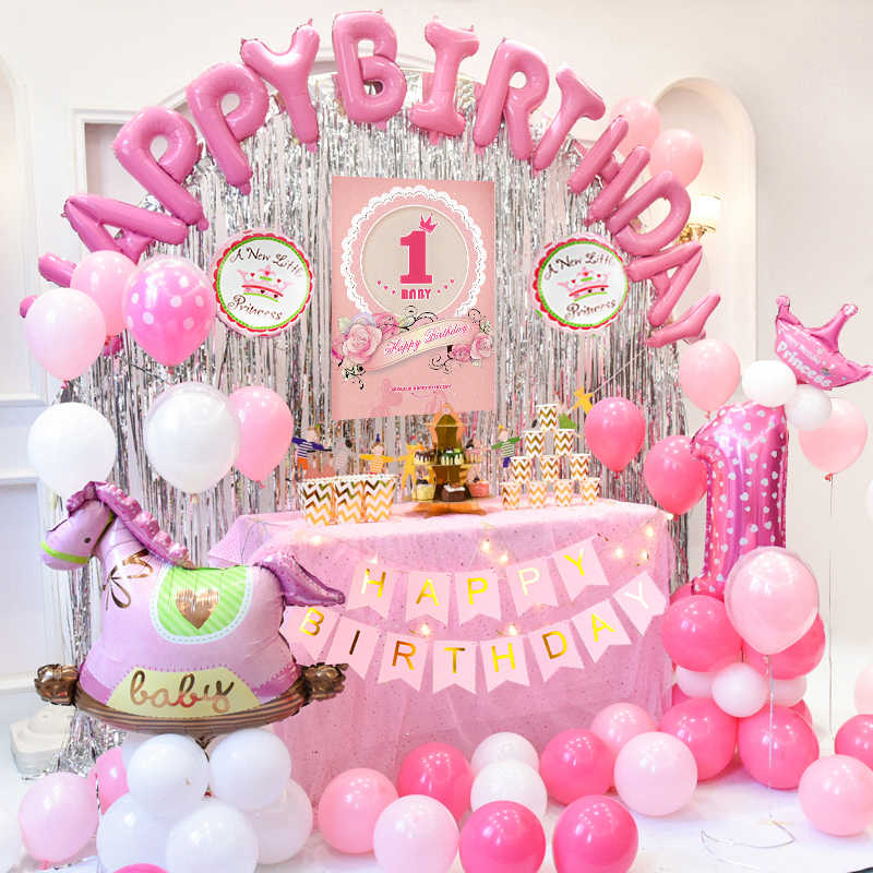 first happy birthday balloon banner my 1st 1 one year party decorations foil curtain kids baby boy girl adult garland supplies