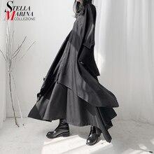 New Woman 2020 Autumn Very Long Blouse Shirt Black White Plu