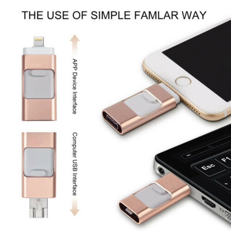 3in1 256GB 128GB 64GB 32GB 16GB Metal USB 3.0 OTG Flash Drive HD USB Flash Drives For IPhone For IPad For IPod And Android Phone