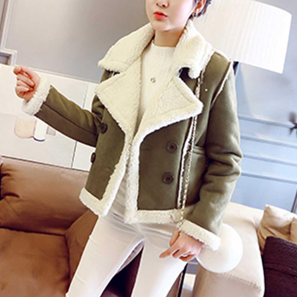 Jocoo Jolee mujeres abrigadas gruesas chaquetas de gamuza de piel de oveja de piel de imitación abrigo 2019 moda invierno corderos de lana abrigos cortos de motocicleta
