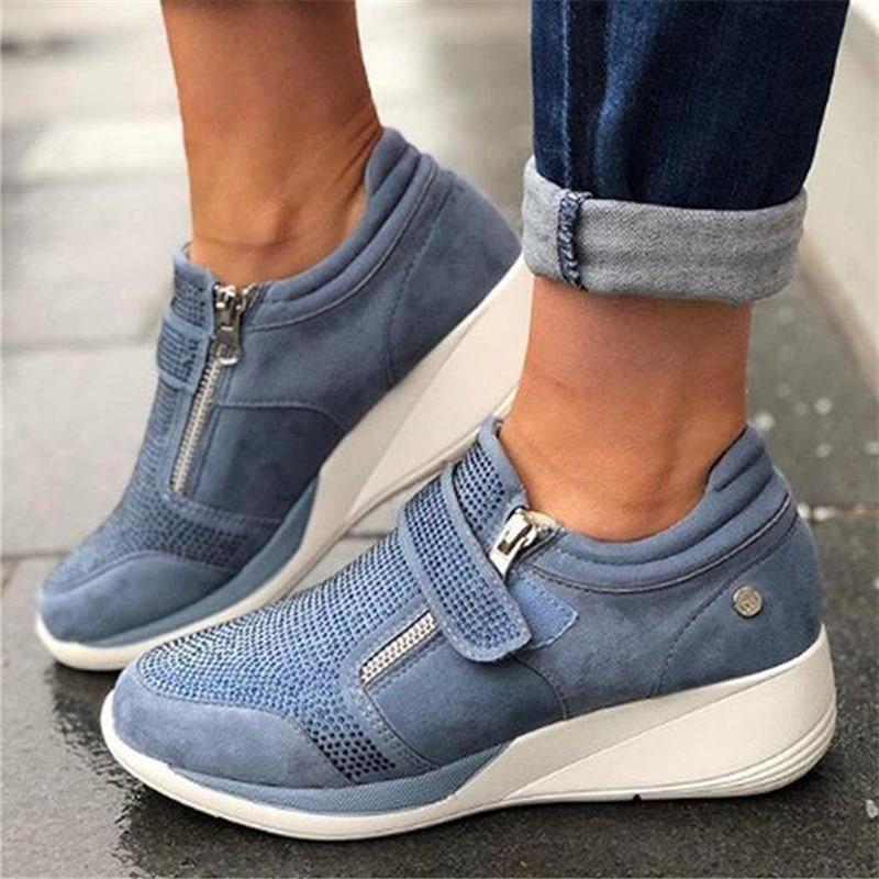 Women Spring Crystal Sneakers Women's Wedge Platform Hook Loop Ladies Zip Casual Woman Vulcanized Comfort Female Fashion 35-43