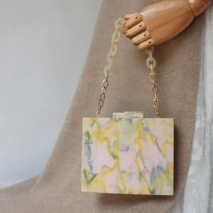 Image 3 - 2019 New Fashion Women Evening Bag Green Yellow Acrylic Chain Handbags Luxury Square Party Wedding Bag Casual Vintage Box Clutch