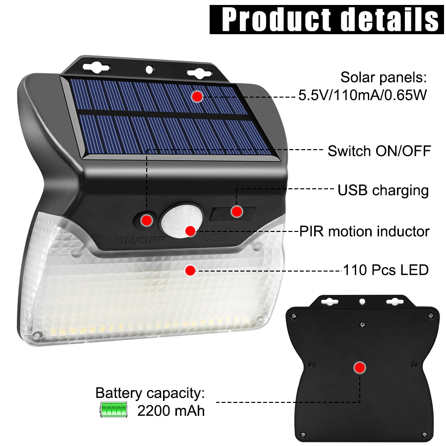 Solar and USB Powered Outdoor Light with 110 LEDs in 3 Lighting Modes and 90 to 120 Degree Sensor Angle 9