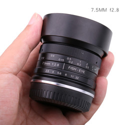 7.5mm f2.8 fisheye lens 180 APS-C Manual Fixed Lens For Canon   EOS-M Mount E Mount Fuji FX Mount Hot Sale Free Shipping