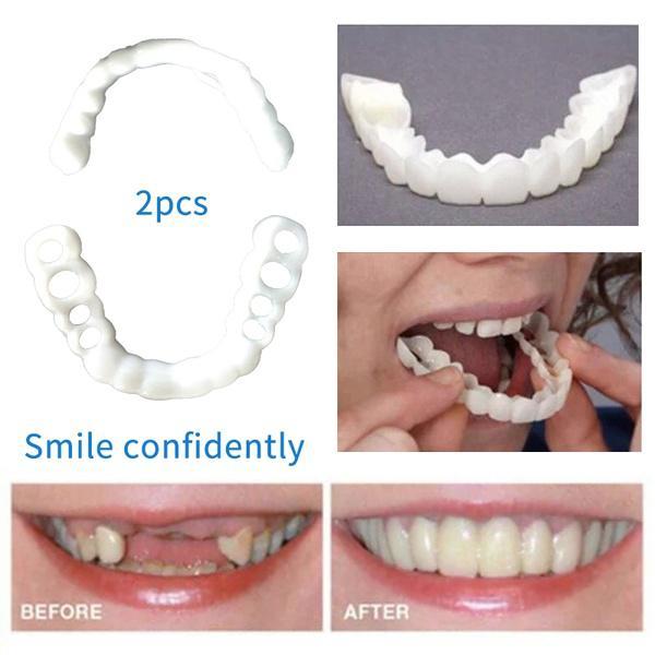 GloryStar 1 Pair Reusable Whitening Dentures Braces Dental Care Accessories