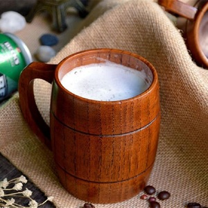 Eco-friendly 400ml Classical Wooden Beer Tea Coffee Cup Water Cup Heatproof Home Office Party Drinkware Cups