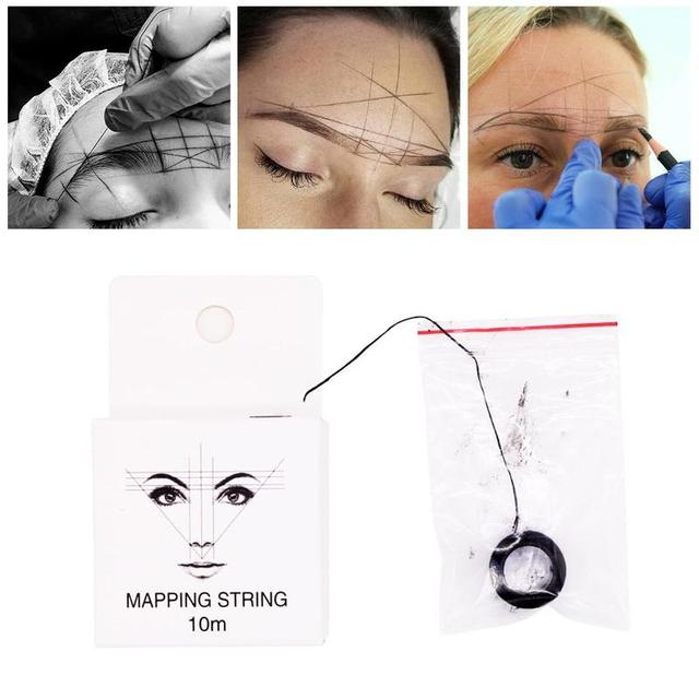 10m 2 Pcs Microblading Mapping String Pre-Inked Eyebrow Marker thread Tattoo Brows Point Line Tool Eyebrow Pencil Marking Line 3