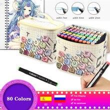 80 cores marcador caneta conjunto desenho marcadores manga dupla cabeça alcoólica baseado esboçar feltro-ponta caneta para material de arte da escola