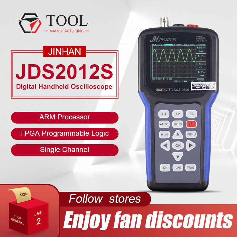 Jinhan JDS2012S Originele Handheld Digitale Oscilloscoop 1 Kanaals Digitale Multimeter 200MSa/S JDS2012S Tft Lcd Display Hot Koop