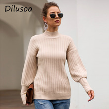 Dilusoo Turtleneck Winter Knitted Sweater Women Lantern Slee