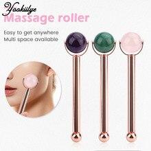 1pc Ball Jade Roller Face-lift Facial Eyes Massage Roller Natural Rose Quartz Aventurine Amethyst Anti-wrinkle Skin Care Beauty