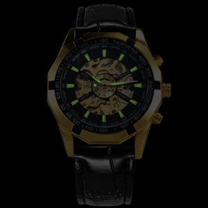 Image 5 - WINNER Official Automatic Watch Men Golden Skeleton Mechanical Mens Watches Brand Luxury Leather Strap Fashion Dress Wristwatch
