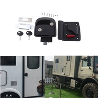 1 Set BLACK RV Trailer Entry Door Latch Deadbolt Handle Lock Keys Kit For RV / Camper / Trailer / Home Cabinet Etc