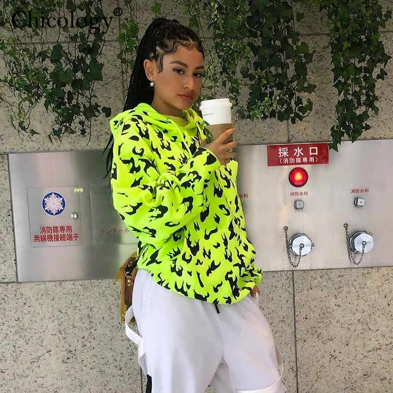 Chicology fire print streetwear hoodie long sleeve pocket women oversize sweatshirt 2019 autumn winter female loose kpop clothes