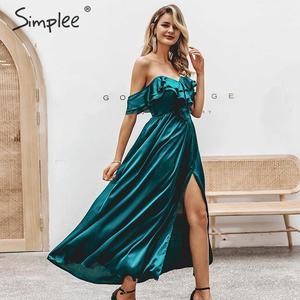 Image 1 - Simplee Sexy off schulter lange party kleid Abendkleid hohe taille kräuselte grün kleid Damen herbst winter chic vent satin kleid