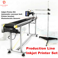 Automatic Assembly Line Inkjet Label Printer + Conveyor Belt + Bracket + Sensors Kits for QR Code/Date/LOGO Inkjet Label Print