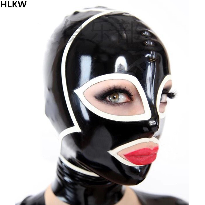Latex Hood Open Face Wrap Head Unique Rubber Mask for Catsuit Club Wear Costume