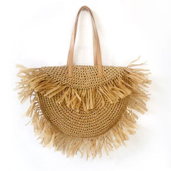 Summer Bohemian Women Straw Bags Casual Tote Tassel Round Handbag Beach Holiday Shoulder Bags