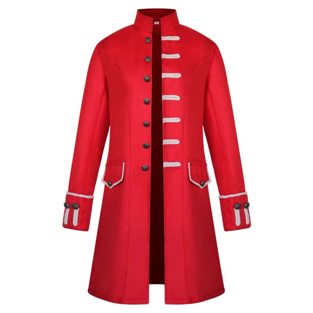 Heeb09410f67648f9a25d25ad4a33f395A Men Trench Coat Steampunk Jacket Medieval Costume Men Long Sleeve Gothic Brocade Jacket Frock Vintage Stand Collar Men's Coat
