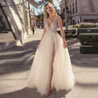 Sexy Deep V neck Crystal Beaded Backless Prom Dresses Long Tulle Sleeveless Slit Evening Dress robe de soiree