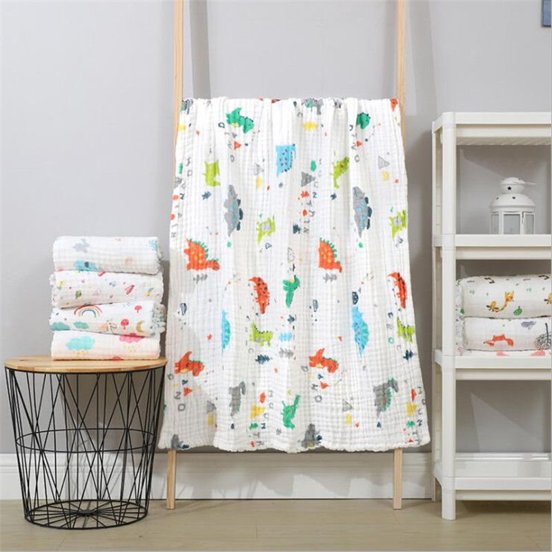 110*110cm Baby Blankets Newborn Muslin Cotton 6 Layers Breathable Swaddle Kids Receiving Blankets Children Summer Cover Bedding