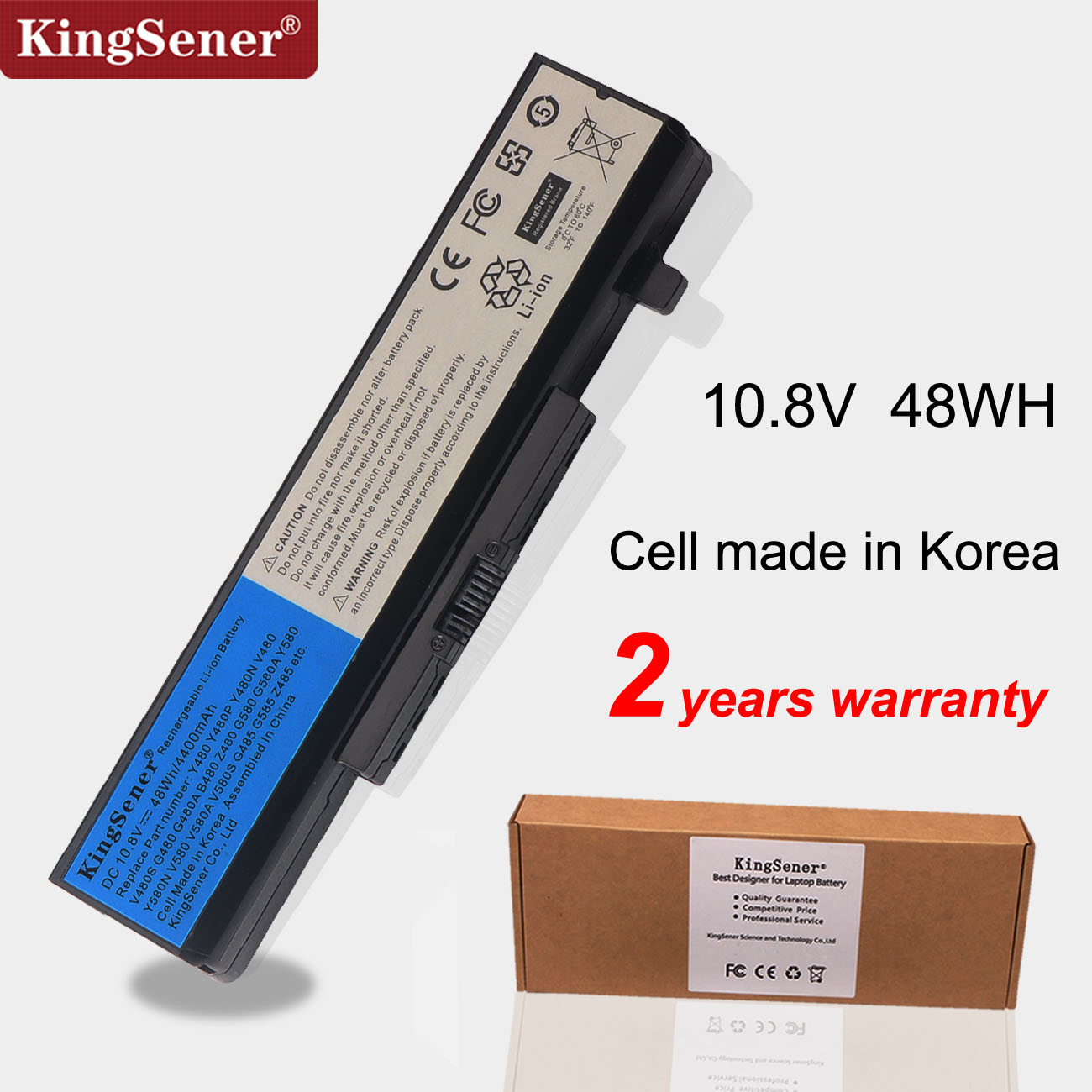 Kingsener 6 Cells Laptop Battery for <font><b>Lenovo</b></font> IdeaPad Y480 Y580 G480 G580 G580AM Z380AM Z480 Z580 Z585 V480 <font><b>V580</b></font> L11S6Y01 L11L6Y01 image