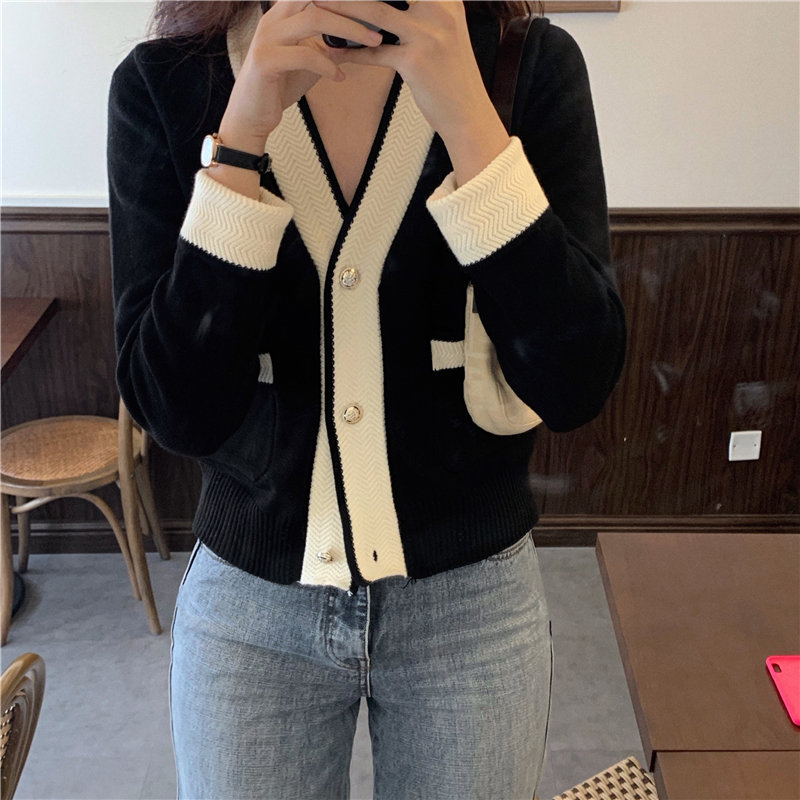 HziriP Elegance Slim Slender V-Neck Patchwork Sexy 2020 New High Waist Cardigans Chic All Match Gentle Women Brief Sweaters