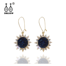 DREJEW Blue Rhinestone Sun Flower Statement Earrings Sets 2019 925 Crystal Alloy Drop Earrings for Women Wedding Jewelry HE828 цена и фото