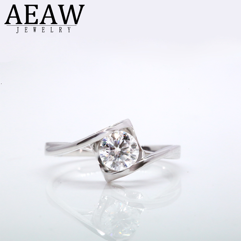 AEAW 0.4ct 4.5mm Round Cut EF VVS1 Moissanite 925 Silver Ring Diamond Test Passed Fashion Love Token Fashion Girlfriend Gift