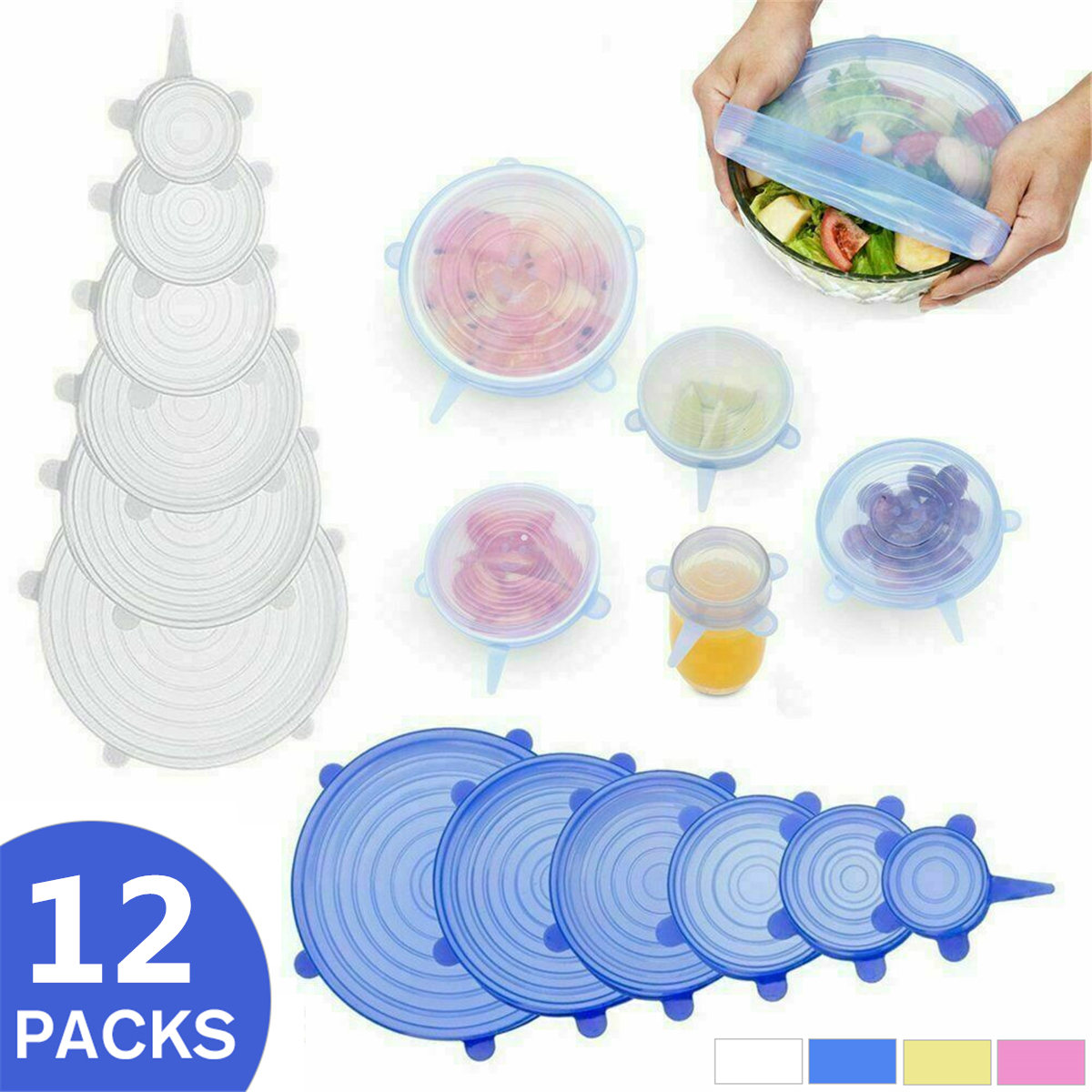 12Pcs/Set Silicone Food Seal Cover Stretch Lids Reusable Bowl Cover Stretch Wraps Food Fresh Keeping Film Kitchen Accessories