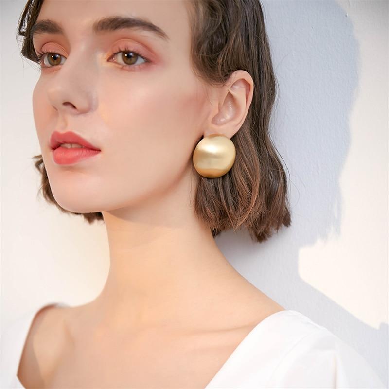 New Punk Bijoux Stereoscopic Geometric Half Sphere Gold Matte Metal Big Stud Earrings For Women Girls Party Accessories