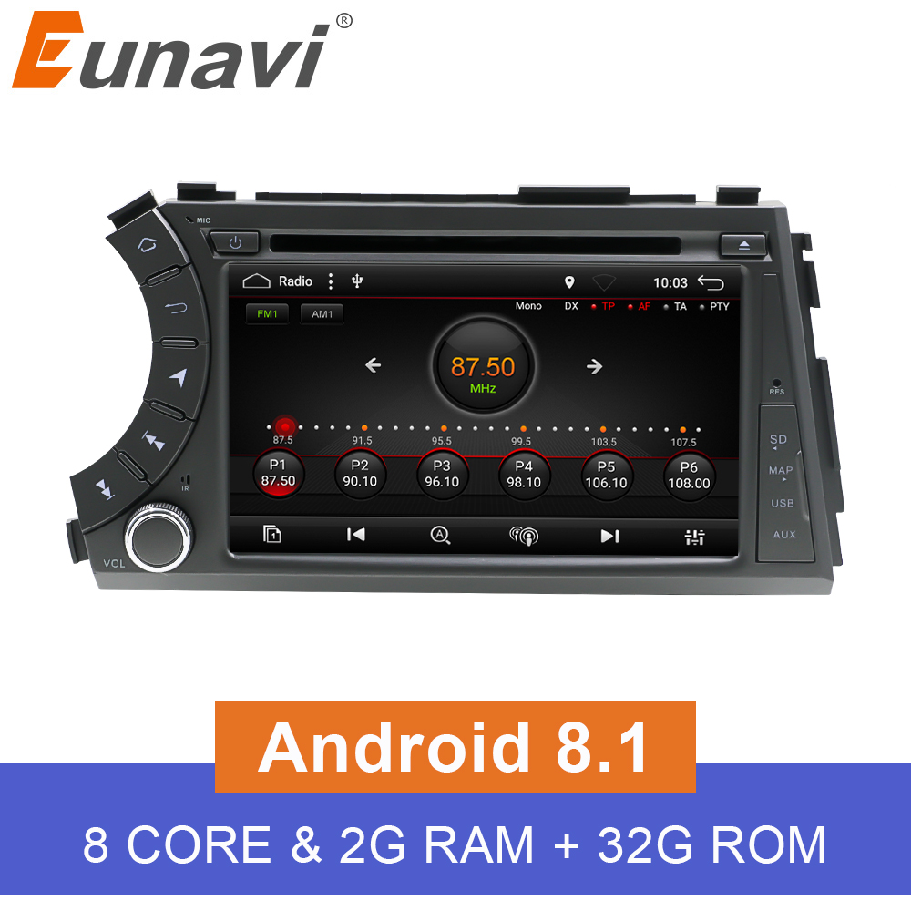 Eunavi 7'' Double 2 Din Android 8.1 Octa core Car DVD player Radio Stereo GPS for SsangYong Kyron Actyon Korando Tradie 2005 image