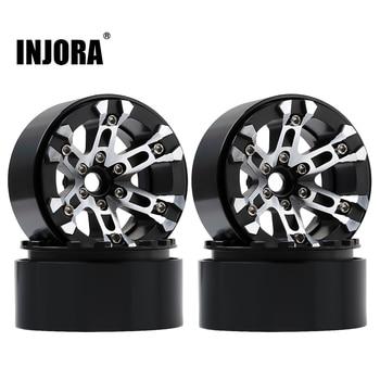 INJORA 4Pcs Metal 2.0inch Beadlock Wheel Hub Rims for 1/10 RC Crawler Car Axial SCX10 90046 SCX10 III AXI03007 TRAXXAS TRX4 1
