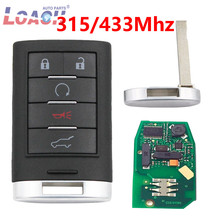 5 Button 315 MHZ/433MHz Intelligent Card Smart Remote Key  For Cadillac SRX,XTS,ATS 2010 2011 2012 2015 NBG009768T